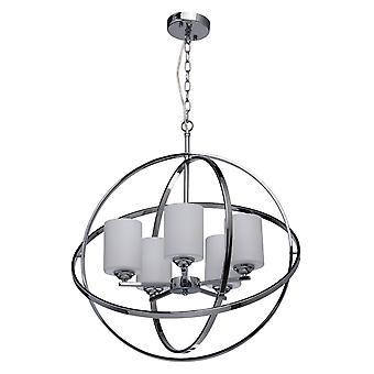 Glasberg - Chrome Five Light Pendant With White Glass Shades 285010405