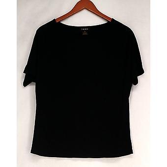 Iman T-Shirt Top Slip Into Slim Round Neck Basic Tee Jet Black Womens 460-386