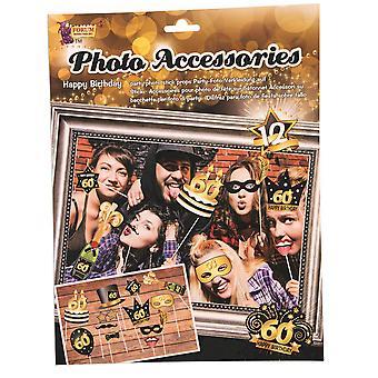 Bristol Novità 60th Compleanno Foto Accessori 12 Pezzo Stick Prop Set