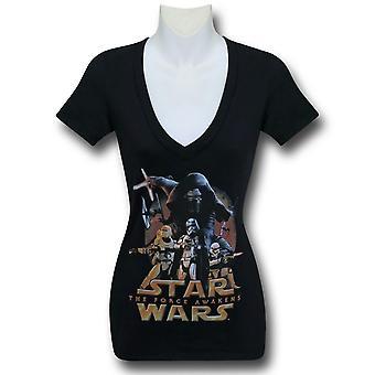 Star Wars Force Awakens Poster Women's V-Neck T-Shirt