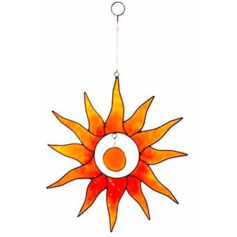 Red and Orange Sun with Glass Nugget Suncatcher