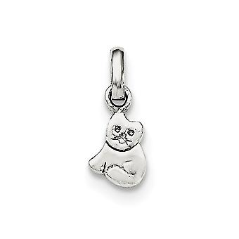 925 Sterling Silver Rh Plated for boys or girls Polished Kitty Cat Pendant Necklace - .5 Grams