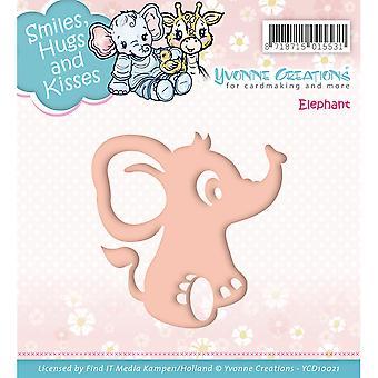 Hitta det Trading Yvonne skapelser Die-Elephant, Smiles kram & amp; Kyssar