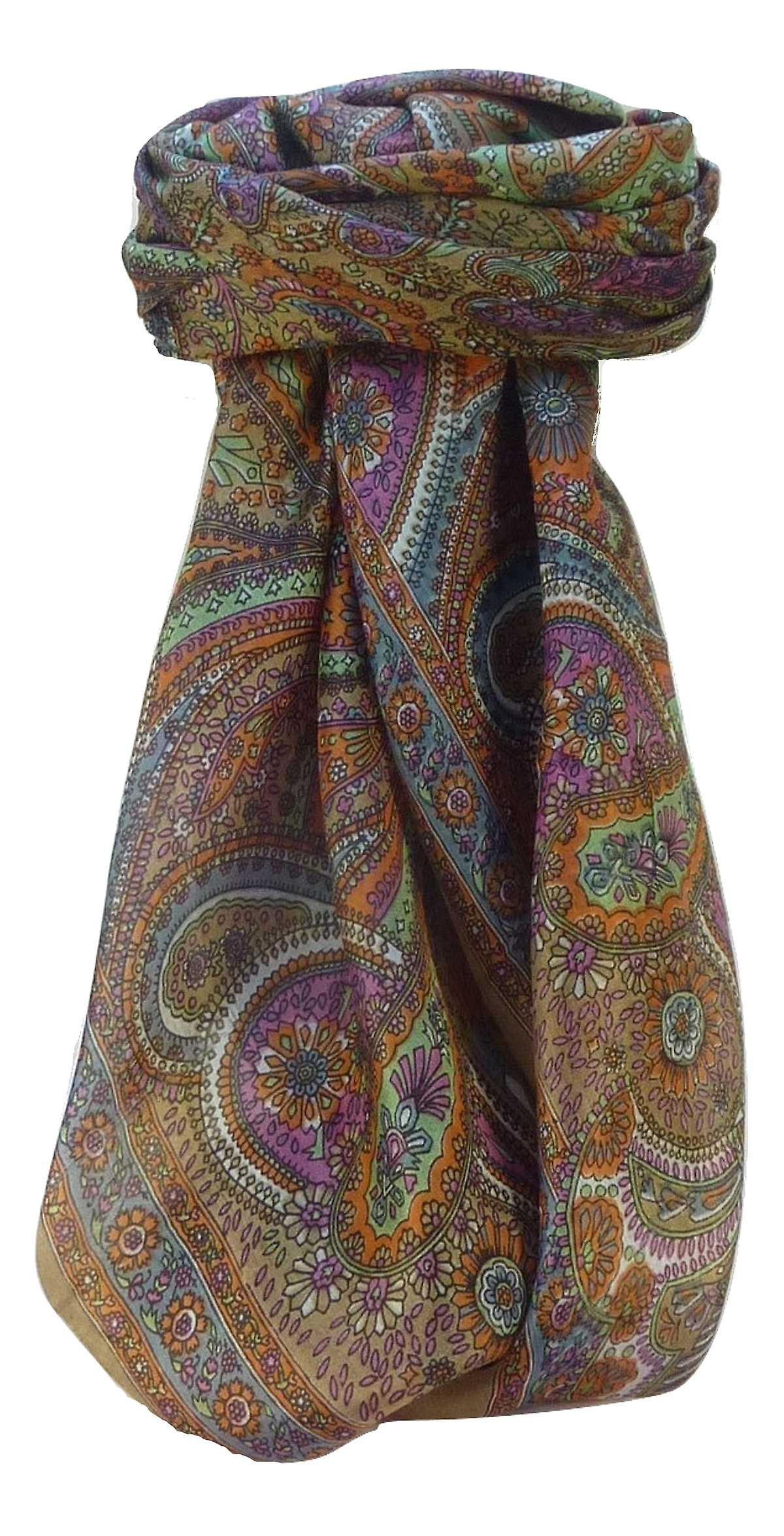 Mulberry Silk Traditional Square Scarf Zee Chestnut by Pashmina & Silk