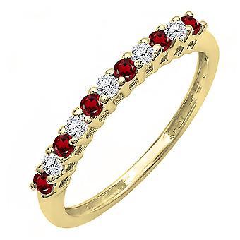 Dazzlingrock Collection 10K Round garnet & hvit diamantjubileum stables Wedding band, gult gull