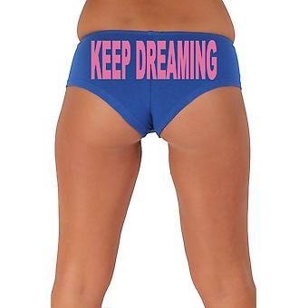 Women's Funny Booty Shorts Keep Dreaming Block Pink Bold Style Type