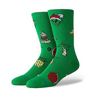 Postura de enfeites de natal crew socks em verde