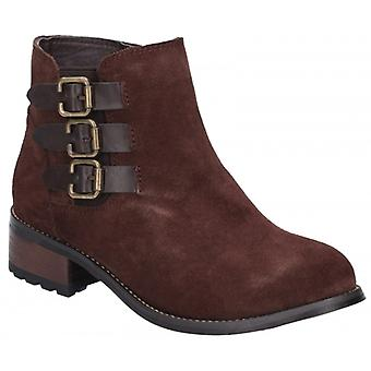 Divaz Lexi Ladies Leather Ankle Boots Brown