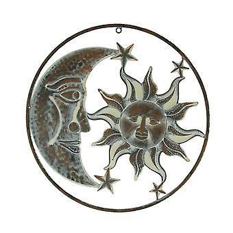 Rusty White Metal Art Indoor Outdoor Celestial Sun Moon and Stars Wall Decor