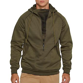 Allthemen Men's Solid Color Plus Velvet Half Zipper Hooded Camisa