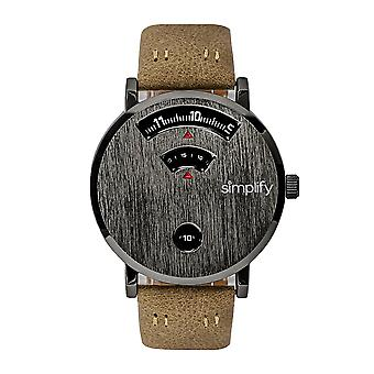 Simplify The 7000 Leather-Band Watch - Gunmetal/Brown