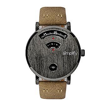 Vereenvoudig de 7000 Leather-band horloge-Gunmetal/bruin