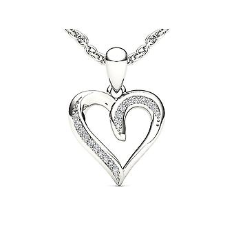Igi certified solid 10k white gold 0.05 ct diamond heart pendant necklace