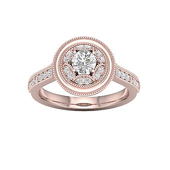 DE COUER 5/8Ct TDW Diamond 14k Rose Gold Halo Engagement Ring (I-J, I2)
