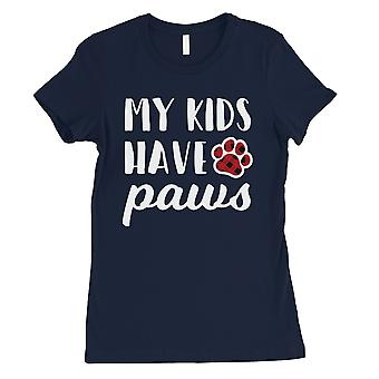 My Kids Have Paws Plaid Womens Navy T-Shirt Funny Pet Mom Cute Gift