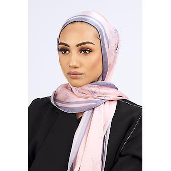 Silk satin scarf in pink & grey floral print