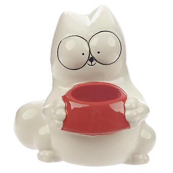 Simon ' s Cat Money box Cat med madskål håndmalet, 100% keramik, i gaveindpakning.