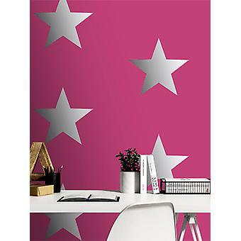 Estrellas metálicas Fondo Pintado Rosa / Plata Rasch 248180