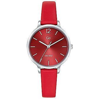 Watch Go Girl alleen 699942-zilver stalen armband rood leer rode rode wijzerplaat vrouwen