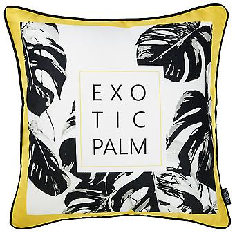 Exotic Palm Black White Yellow Decorative Throw Pillow Cover