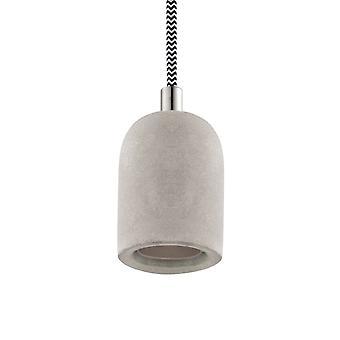 Eglo Yorth E27 hanger Suspension Kit in Conctrete effect grijs met zwart-wit gevlochten kabel