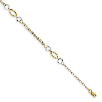 4.36mm 14k kaksi sävy kultakiillotettu 1inch Ext. Nilkkakoru 10 tuuman korut lahjat naisille