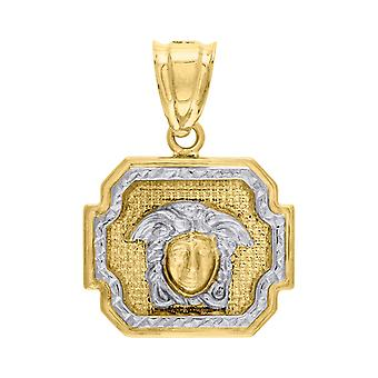 10k Gold Two tone Dc Mens Versace Height 28.4mm X Width 20.1mm Charm Pendant Necklace Jewelry Gifts for Men