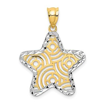 14k and White Rhodium Sparkle Cut Star Pendant Necklace Jewelry Gifts for Women - 1.0 Grams