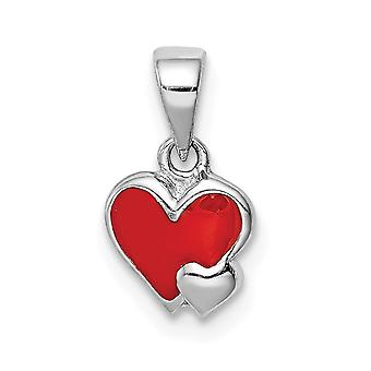 925 Sterling Silver Rhodium plated for boys or girls Enameled Red Love Heart Pendant Necklace