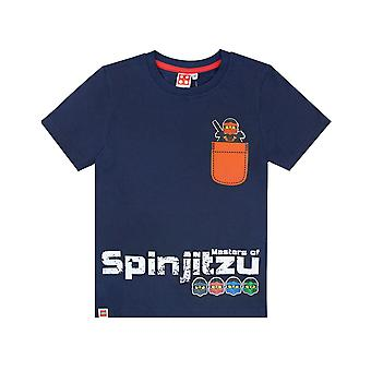 T-shirt Lego Ninjago Boys Spinjitzu Navy Top Orange Pocket Ninja per bambini