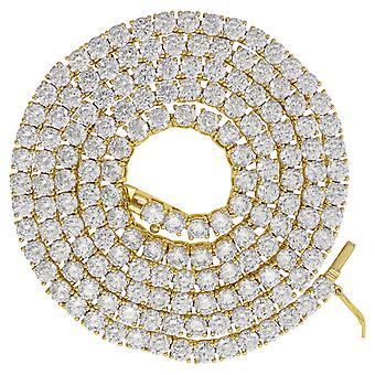 925 Sterling Sølv Gul tone Menns Unisex 5mm 22 Tommers CZ Cubic Zirconia Simulert Diamant Tennis Kjeden Smykker