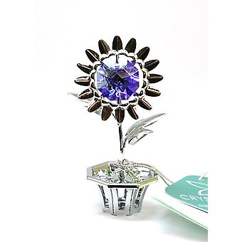 CRYSTOCRAFT Mini Purple Daisy In Pot Made With Swarovski Crystals