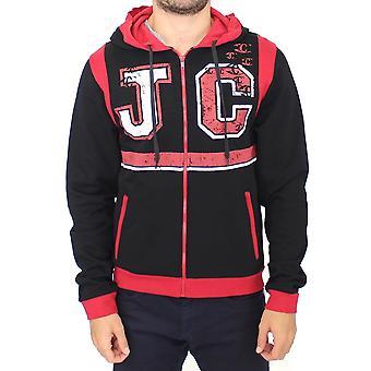 Cavalli Red Zipper Hooded Cotton Sweater