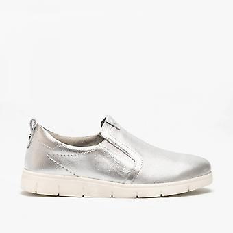 Hush Puppies Lumi Ladies Leather Slip On Shoes Silver Metallic