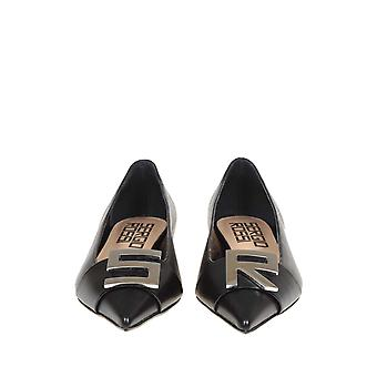 Sergio Rossi A89100magn051000 Women's Black Leather Flats