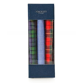 Hackett Cotton Tartan Pocket Square Three Pack