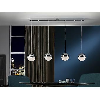 Schuller Sphere - Lamp of 4 lights made of metal, chrome finish. Spherical shades 2 cm. of metal and polycarbonate with texture inside. Adjustable height. 19,2W LED. 3.000 K.  1,152 lm. DIMMABLE. - 793635