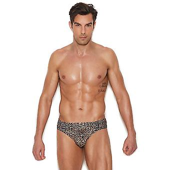 Mens Leopard Print Thong Back Underwear Brief