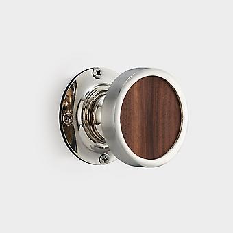 Brass Interior Door Knob - Walnut Wood