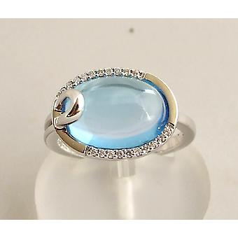 Gold ring with topaz and diamond