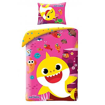 Baby Shark Pink Single Duvet Cover Set - European Size