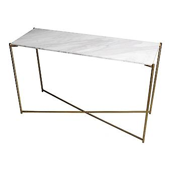 Gillmore White Marble Large Console Table With Brass Cross Base