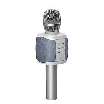 Microfone de Karaokê e Alto-Falantes 2 em 1, Prata