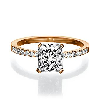 1 1/2 karat H SI2 diamant Engagement Ring 14k Rose Gold Micro bane løfte Ring Vintage Ring