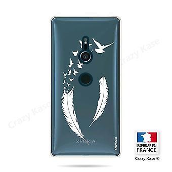 Casco para Sony Xperia Xz2 Padrão flexível de penas e pássaros de vôo