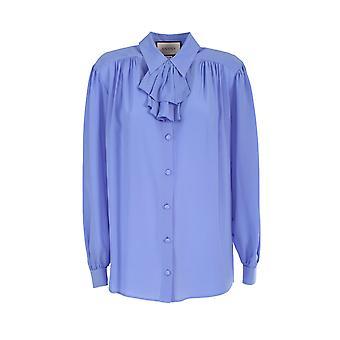 Gucci 596710zaaog5264 Women's Light Blue Silk Shirt