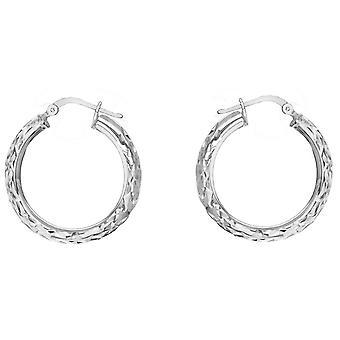 KJ Beckett Diamond Cut kreolska örhängen - Silver
