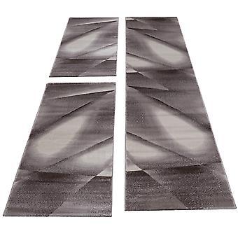 Tapijt bed grens 3-delige korte flor tapijten runner set bruin gevlekt