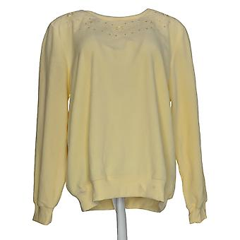 Alfred Dunner Women's Sweater Embroidered Crew Neck Yellow