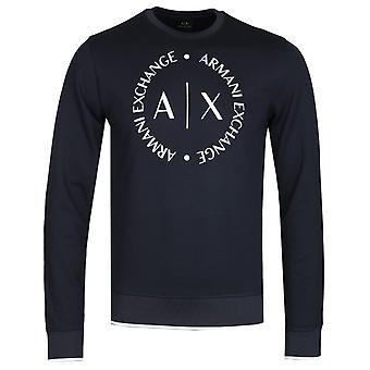 Armani Exchange round logo Navy tripulação pescoço camisola